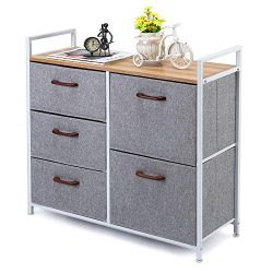 MaidMAX 5 Drawer Dresser, Closet Dresser Organizer with Wood Handles for Clothes, Bedroom, Nurse ...