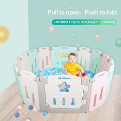 Foldable Baby Playpen 14 Panel Kids Activity Center Toddler Play Yard Easy to Store Safety Games ...