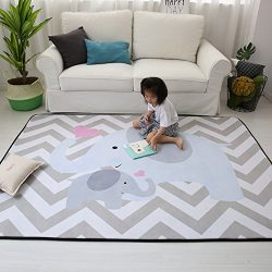 MAXYOYO Stylish Extra Large Baby Play Mat Soft Playmat Grey Rug Foam Play Mat Kid Floor Mats Bab ...