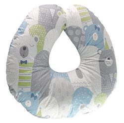 Extra-Soft Breastfeeding Baby Support Pillow w/100% Hypoallergenic Removable Bamboo Cover&Sl ...