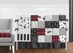 Sweet Jojo Designs Grey, Black and Red Woodland Plaid and Arrow Rustic Patch Baby Boy Crib Beddi ...