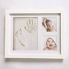 Baby Handprint & Footprint Picture Frame Kit for Newborn Girls and Boys, Baby Photo Album fo ...