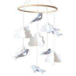 Baby Crib Mobile by Sorrel & Fern – Birds & Clouds- Felt Nursery Ceiling Decoratio ...