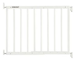 Storkcraft Easy Walk-Thru Wooden Safety Gate, White Adjustable Baby Safety Gate For Doorways and ...