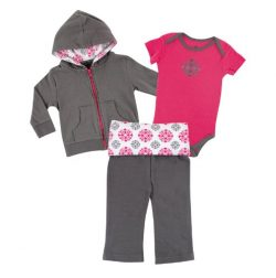 Yoga Sprout Infant 3 Piece Jacket, Top and Pant Set, Pink Medallion, 0-3 Months
