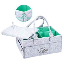 Baby Diaper Caddy Organizer Changing Mat Set Waterproof | Nursery Storage Bin for Wipes, Lotions ...