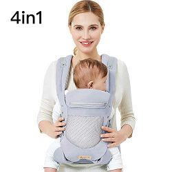 Baby Carrier with Adjustable Hip Seat,Baby Wrap Carrier with Hood, Soft & Breathable Baby Ca ...