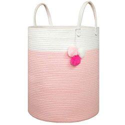 Solaya Tall Pink Cotton Rope Basket Storage 16″x 20″- Large Natural Cotton Woven Bas ...