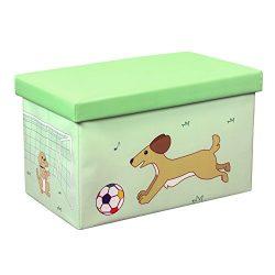 Otto & Ben 23″ Toy Box – Folding Storage Ottoman Chest with Foam Cushion Seat, W ...