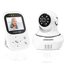 Video Baby Monitor with Camera and Infrared Night Vision, Two-Way Talkback, and Temperature Moni ...