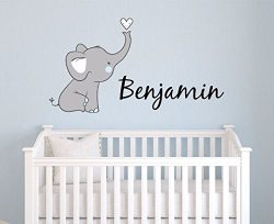 Boys Nursery Elephant Custom Personalized Name Wall Decal Large, Nursery Elephant Wall Decals, B ...