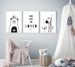 Modern Nursery Art by Mila Lou – Set of 3 – Framed – 10×12 – Cute A ...
