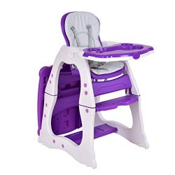 Costzon 3 in 1 Baby High Chair Desk Convertible Play Table Conversion Seat Booster (Purple)