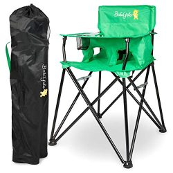 Portable Baby High Chair for Travel: Camping Highchair with Eating Tray – Green