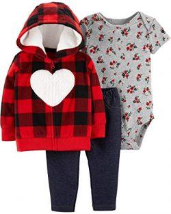 Carter's Baby Girls` 3-Piece Little Jacket Set, Buffalo Check/Heart, 6 Months