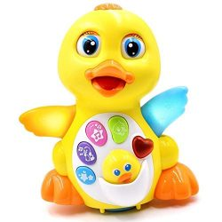 Toyk Baby Toys Musical Duck Toy Lights Action with Adjustable Sound – Toys for 1 2 3 Year  ...