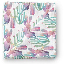 Aenne Baby Cactus Newborn Muslin Swaddle Blanket Purple Pink Floral Designer Print, Large 47 x 4 ...