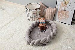 LOAOL Baby Crib Nest Bed Newborn Lounger Sleeper Knotted Braided Infant Nursery Decor Cradle Bum ...