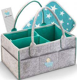 Baby Diaper Caddy Organizer – Large Portable Nursery Storage Bin for Car, Sturdy Diaper Basket f ...