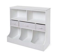 Freestanding Combo Shelf Cubby Bin Storage Organizer Unit with 3 Baskets