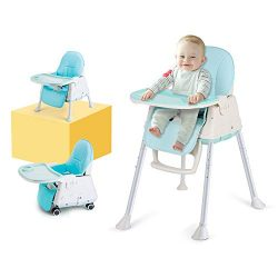 High Chair, LYASI 3-in-1 Portable Highchair,Toddler Booster Seat,Baby Feeding Chair with Tray, W ...