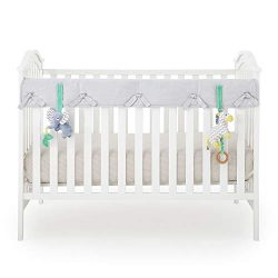 Babee Talk Eco-Teether Organic Cotton Baby Crib Rail Cover with Teether Toys; (Set of 3, 1x Narr ...
