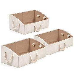 Set of 3 Large Storage Bins EZOWare Foldable Bamboo Fabric Trapezoid Organizer Boxes with Cotton ...