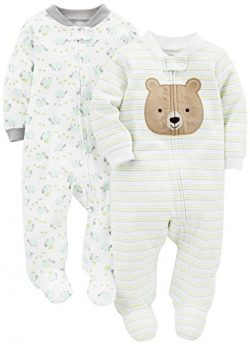 Simple Joys by Carter's Baby Neutral 2-Pack Cotton Footed Sleep and Play, Bear/Turtle 0-3  ...