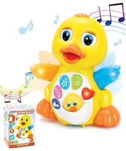 JOYIN Dancing Walking Yellow Duck Baby Toy with Music and LED Light Up for Infants, Toddler Inte ...