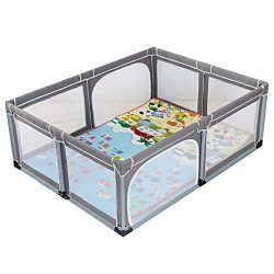 Extra Large Kids Play Yard with Mat/Pad, Child Baby Girs Boys Outdoor Indoor Portable Play Pen S ...