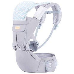 Baby Wrap Carrier with Hip Seat, Windproof Cap, Bite Towel as Well as 6 and 1 Convertible Backpa ...
