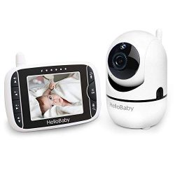 HelloBaby Wireless Video Baby Monitor with 3.2Inch LCD Display 960feet Transmission Range,Remote ...