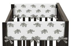 Sweet Jojo Designs Grey and White Side Crib Rail Guards Baby Teething Cover Protector Wrap for W ...