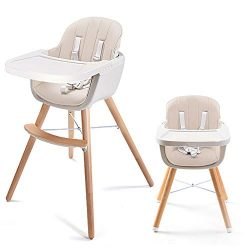 Asunflower Wood High Chair Toddlers 3 in 1 Convertible Modern Baby Highchair Solution for Babies ...