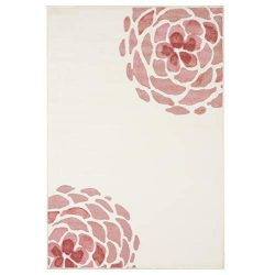 Evolur Home Madison Blooming Peony Nursery Rug70'x52′ in Rose Quartz and Ivory