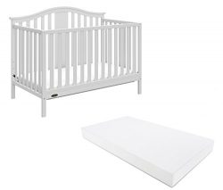 Graco Solano 4-in-1 Convertible Crib With Mattress, White, Converts to Toddler Bed Day Bed or Fu ...