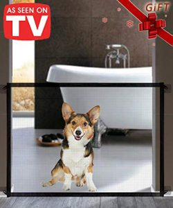 Queenii Magic Gate for Dogs, Pet Safety Gate, Portable Folding Mesh Magic Gate Baby Safety Gates ...