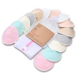 Organic Bamboo Nursing Breast Pads – 14 Washable Pads + Wash Bag – Breastfeeding Nip ...