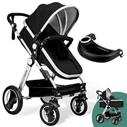 Babyroues Black Newborn to Toddler Baby Stroller – Full Size Luxury Carriage – Infant Bass ...