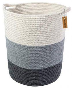 Goodpick 18.8″ x 17.7″ x 13.8″ Extra Large Cotton Rope Basket – Woven Ba ...