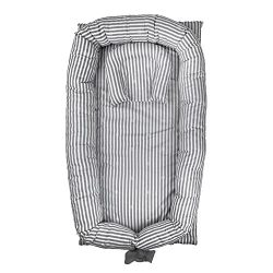 Abreeze Baby Bassinet for Bed -Grey Striped Baby Lounger – Breathable & Hypoallergenic ...