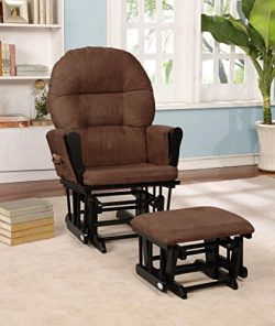 Naomi Home Brisbane Glider & Ottoman Set Black/Chocolate