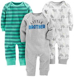 Simple Joys by Carter's Baby Boys' 3-Pack Jumpsuits, Dino, Green Stripe, Gray, 0-3 M ...