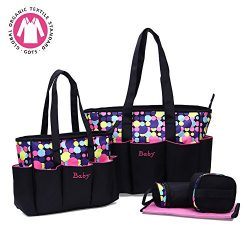 Diaper bag,Kuoser 5 pieces Polka Dot Diaper bags set Waterproof and Multi-Function Large Baby Di ...