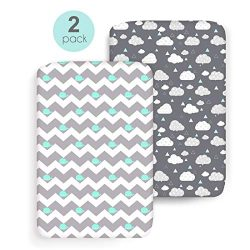 COSMOPLUS Stretch Fitted Pack n Play Playard Sheets – 2 Pack for Mini Crib Sheet Set,Pack  ...
