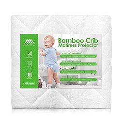 AdorioPower Baby Waterproof Crib Mattress Pad Cover, Premium Hypoallergenic Breathable Bamboo Fi ...