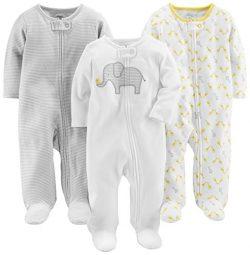 Simple Joys by Carter's Baby 3-Pack Neutral Sleep and Play, Elephant, Stripe, Giraffe, 3-6 ...