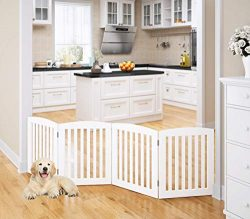 PAWLAND Wooden Freestanding Foldable Pet Gate for Dogs, 24 inch 4 Panel Step Over Fence, Dog Gat ...