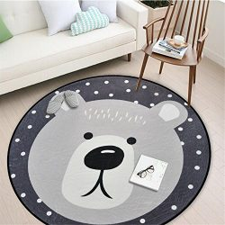 Round Area Rug, Living Room Carpet Bedroom Rug Super Soft Anti-Slip Cartoon Animal Baby Floor Ma ...