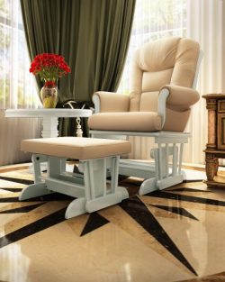 Naomi Home Deluxe Sleigh Glider and Ottoman Set White/Cream